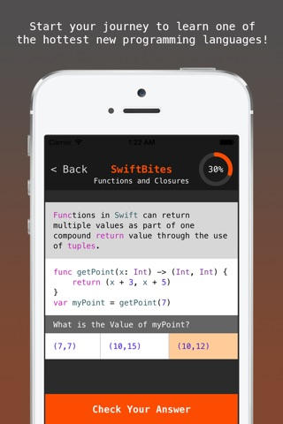 SwiftBites - Learn How to Code in Swift with Interactive Mini Lessons screenshot 2