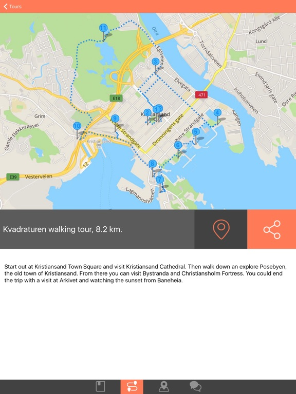 Kristiansand Offline Map Travel Guide with Walking Tours and Local