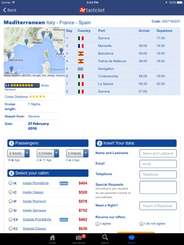 Taoticket iPad - Cruise Finder of Vacation Cruises & Last Minute screenshot 4