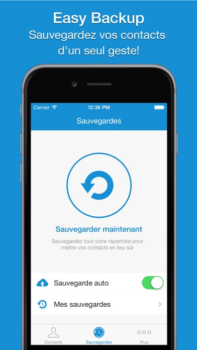 Screenshot Easy Backup Pro - Sauvegarde des Contacts