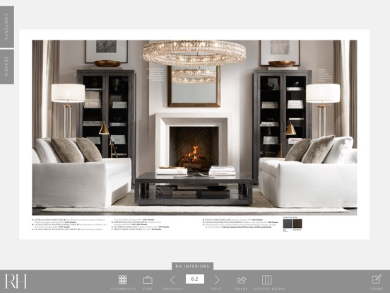 restoration hardware fireplace photo Mediterranean Living Room with Built-in bookshelf & Cement