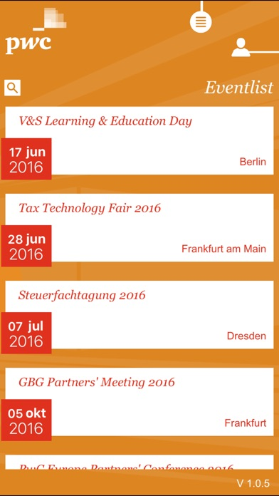Screenshot von PwC EventApp2