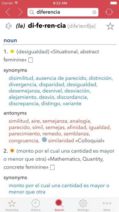Spanish Thesaurus Screenshots