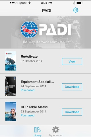 PADI Library screenshot 2