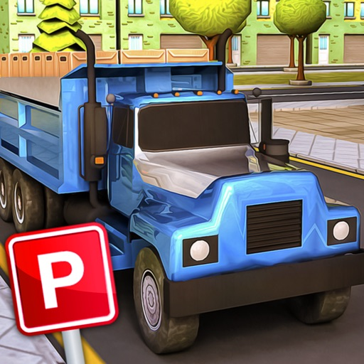 Semi Cargo Construction Truck with lorry Real Parking Rush iOS App