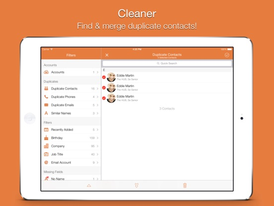 Screenshot #1 for Cleaner - Remove Duplicate Contacts