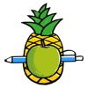 Pen Pineapple Apple Stickers