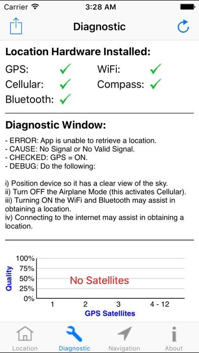 GPS診断 - サテライトテストツールと座標 screenshot1
